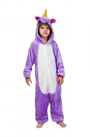 Кигуруми детский Единорог Фиолетовый