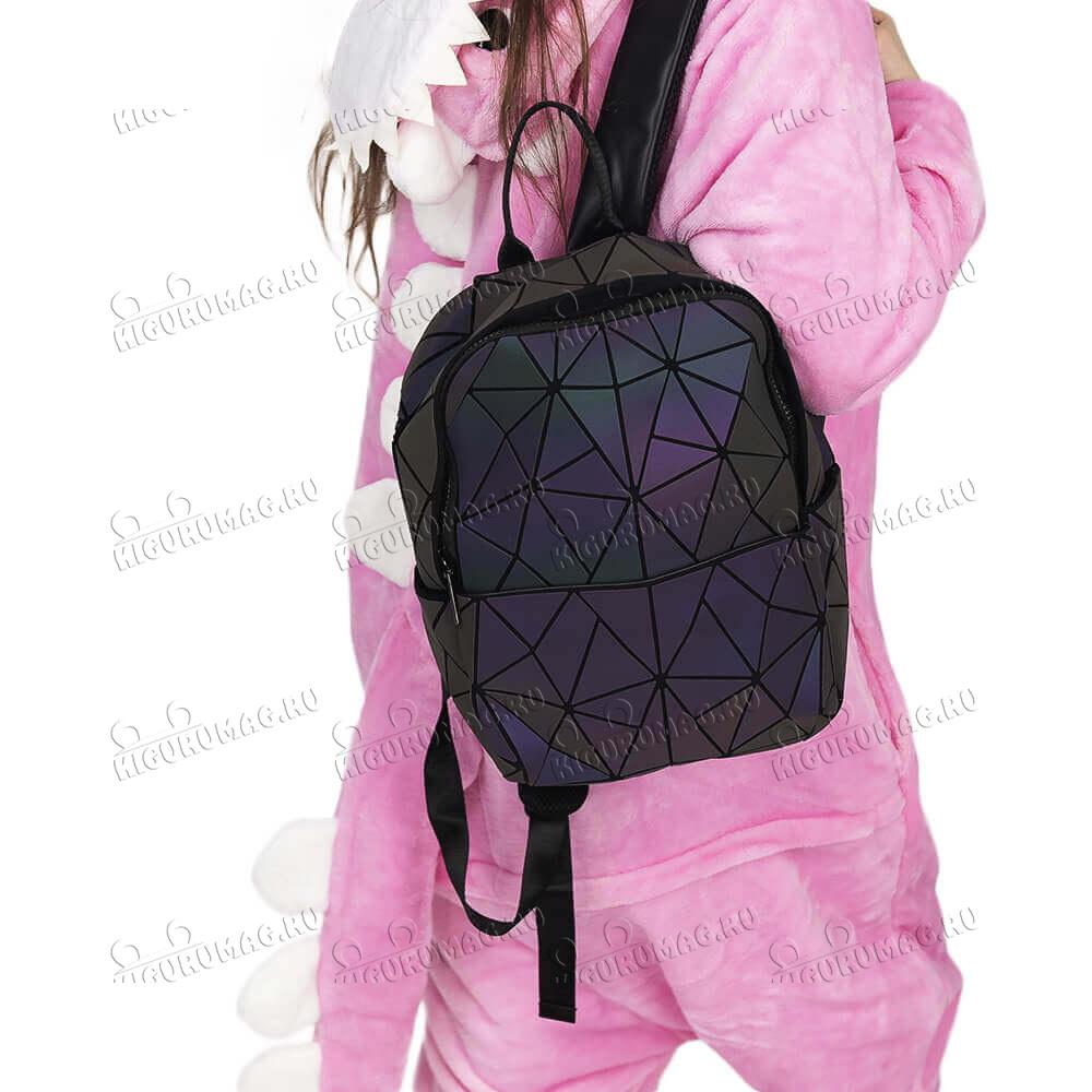Рюкзак Хамелеон неоновый, узор геометрический на замке