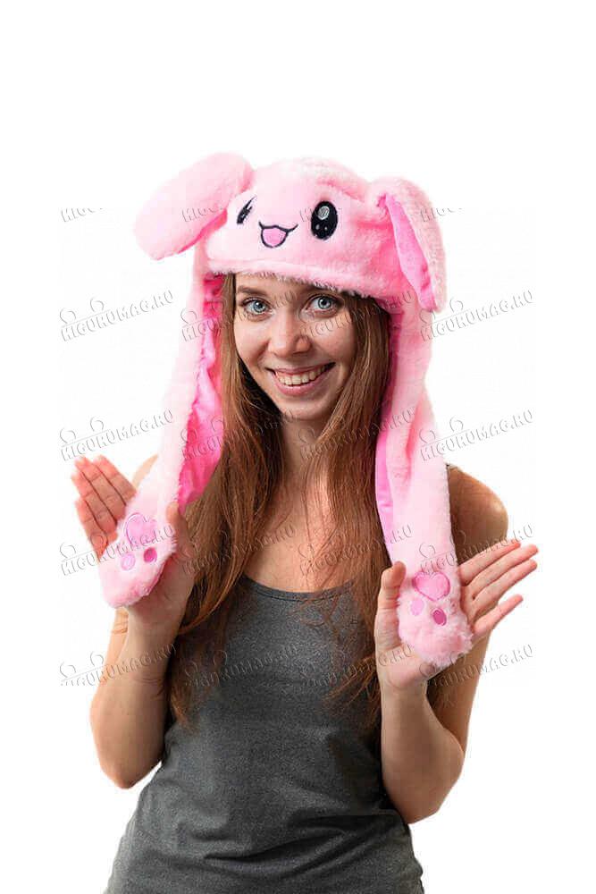 Шапка кигуруми с подвижными ушками и подсветкой Кролик розовый - 2
